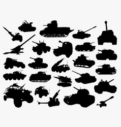 Tank transportation silhouette vector