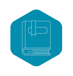 thick book with bookmark icon outline style vector image