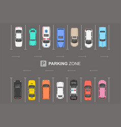 top view different cars city parking parking z vector image