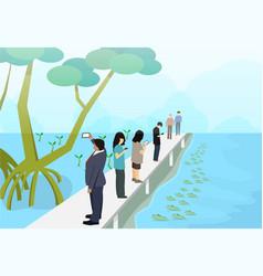 Tourist in mangroves with mudskipper art vector