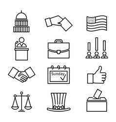 Voting and elections linear icons vector