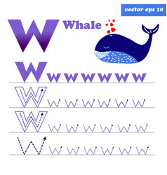 w letter with funny cartoon whale character vector image