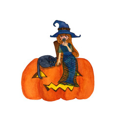Witch and cat sitting on pumpkin vector