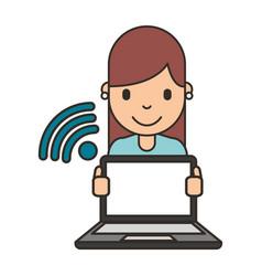 woman cartoon with laptop vector image