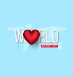 world heart day concept 3d red heart with white vector image