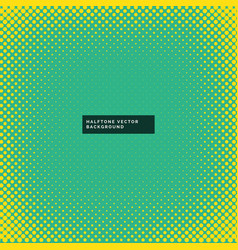 Yellow halftone dots pattern on green background vector
