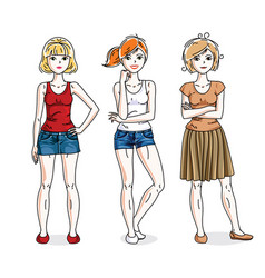 young beautiful women group standing wearing vector image