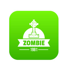 Zombie dark icon green vector