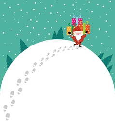 Abstract Christmas with Santa Claus and gift vector image vector image