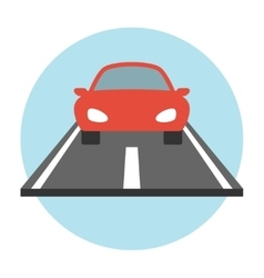 Car on the road icon flat vector image