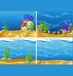 four scenes plants under the sea vector image