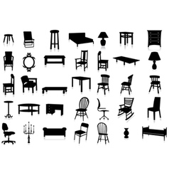 Furniture silhouette set vector