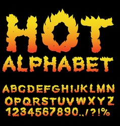 Hot Alphabet Flame font Fiery letters Burning ABC vector image vector image