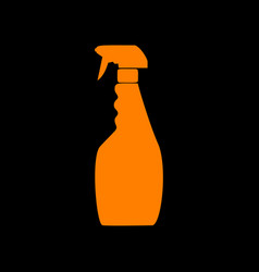 plastic bottle for cleaning orange icon on black vector image