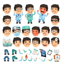 Set of Cartoon Doctor Character for Your Design or vector image vector image