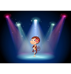 A monkey dancing at the center of the stage vector image vector image