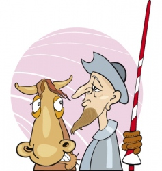 don quixote and his horse vector image
