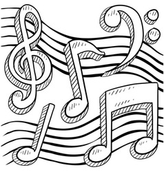 doodle music notes vector image