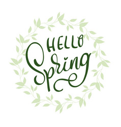 hello spring words on white background frame vector image vector image