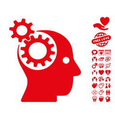 intellect gears icon with lovely bonus vector image