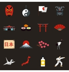 Japan icons set flat style vector image