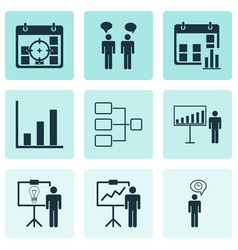 Set of 9 administration icons includes system vector