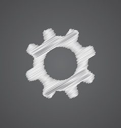 settings sketch logo doodle icon vector image