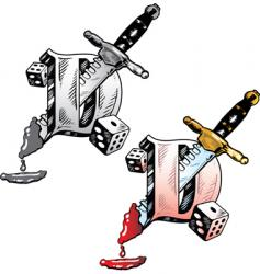 tattoo letter D vector image