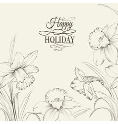 tied narcissus flowers isolated on white vector image