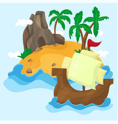 tropical island with palms in ocean vector image