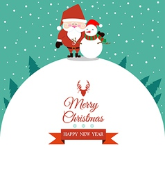 Abstract Christmas with Santa Claus and Snowman vector image vector image