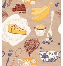 card with cupcakes tea fruits vector image