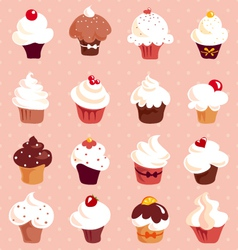 Cupcakes - seamless background vector image vector image