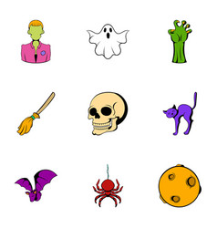 halloween icons set cartoon style vector image vector image