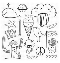 hand drawn doodle set vector image