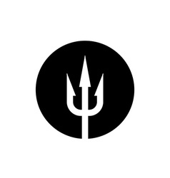 Trident icon White on a black round background vector image vector image