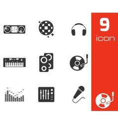 black dj icons set vector image vector image