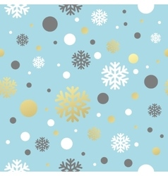 Christmas blue seamless pattern with golden white vector image