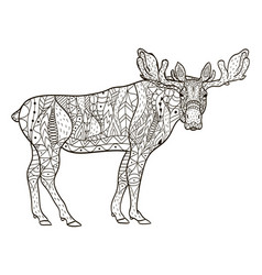 deer coloring for adults vector image