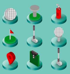 golf flat isometric set vector image
