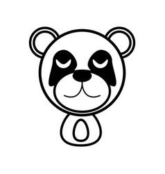 Outline panda head animal vector