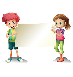 Two kids holding an empty signage vector image vector image