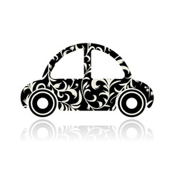 Vintage black car with floral ornament for your de vector image vector image