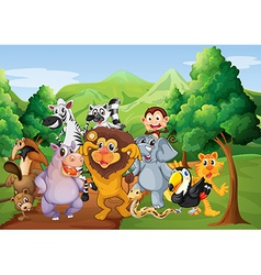 A group of animals at the jungle vector image
