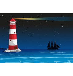 A lighthouse in the middle of the ocean vector image