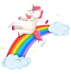a unicorn slide on rainbow vector image