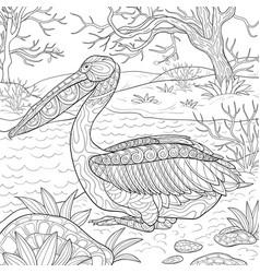 Adult coloring bookpage a cute pelican vector