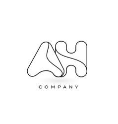 Ah monogram letter logo with thin black monogram vector