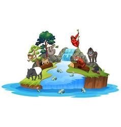 Animals on island scene vector