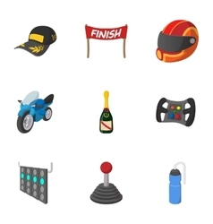 Association of racers icons set cartoon style vector